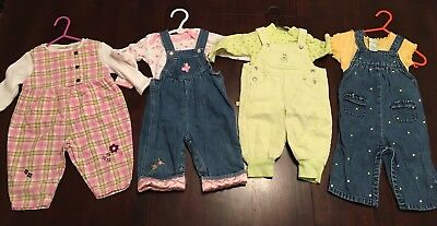 4 Baby Girls Clothes 3-6 Month Size 00 Bulk Lot Overalls Lot 1