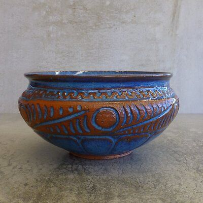 Vintage PNG Pottery Bowl Signed P KTU PNG Papua New Guinea Turquoise Terracotta