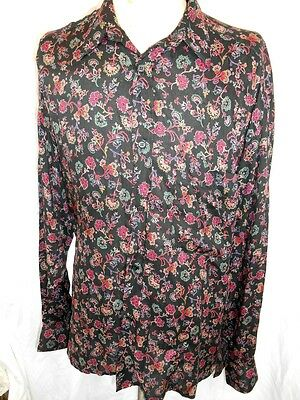 Vintage 80s 90s Black Patterned Silky Rayon Rarity Melbourne Made Dress Shirt L