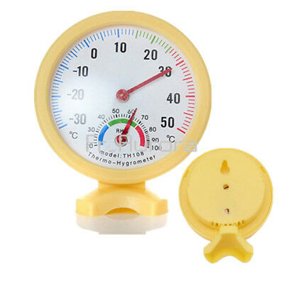 Yellow MIni Round Wet Hygrometer Humidity Thermometer Temperature Meter TH108