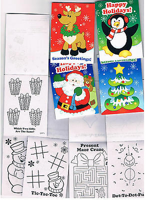 4 x Cute Mini Christmas fun and games books - Kids Stocking fillers, gifts