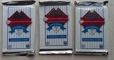 Baseball Card Packs Donruss 1993 x 3
