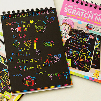 Cardboard Scratch Note Creative DIY Draw Sketch Notes for Kid Child Toy Notebook