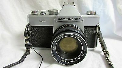 VINTAGE 1970s MAMIYA SEKOR 500 TL CAMERA BODY WITH MAMIYA 55mm LENS