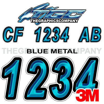 Blue Metal Custom Boat Registration Numbers Decals Vinyl Lettering Stickers USCG