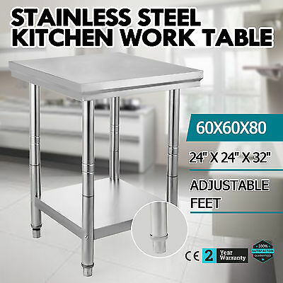 "24"" x 24"" Stainless Steel Work Prep Table Commercial Kitchen Restaurant 60X60X80"