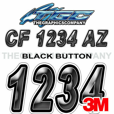 Black Button Custom Boat Registration Numbers Decals Vinyl Lettering Stickers