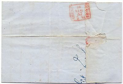 653-Switzerland 1857 - Stampless cover w content Genève to Genova Italy