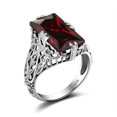 925 Sterling Silver Hollow Out Garnet Austrian Crystal Vintage Wedding Rings