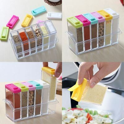6pcs/set Seasoning Spice Jar Acrylic Condiment Box Kitchen Storage Boxes
