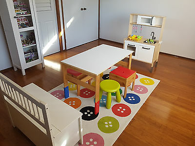 Ikea Used Kids Children Furniture Table Chair Storage Kitchen Cot Carpet 9-Items
