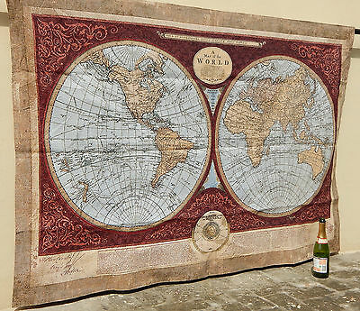 Large Vintage French Beautiful World Map Scene Tapestry 183x130cm (A738)