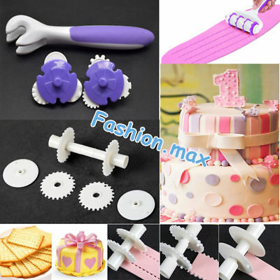 Fondant Strip Ribbon Cutter Sugarcraft Tool Cake Pastry Rolling Embosser Roller