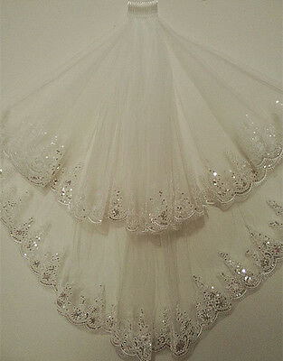2 Layer Lace white/Ivory Elbow Length Sequin Wedding Bridal Veil With Comb