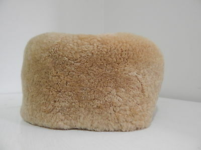 Vintage Genuine Thick Soft Natural Sheep Skin Shearling Hat Snow Winter