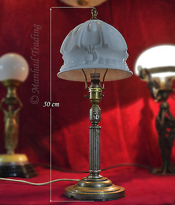 Genuine Edwardian c1900 heavy silver plated Navy Desk lamp opaline glass shade