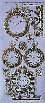 Double Embossed on Clear Clocks Roses PEEL OFF STICKERS Time Type 2 Clock