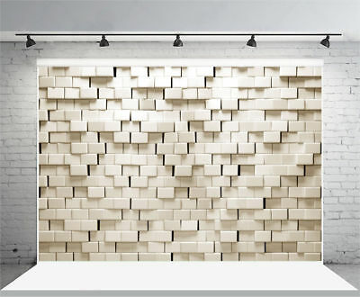 7x5ft 3D white brick wall Vinyl Photography Background Theme Photo Backdrop