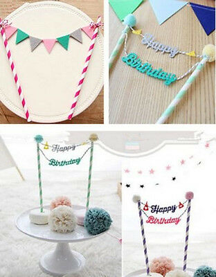 Happy Birthday Cake Cupcake Bunting Banner Flag Food Topper babyShower Party GD