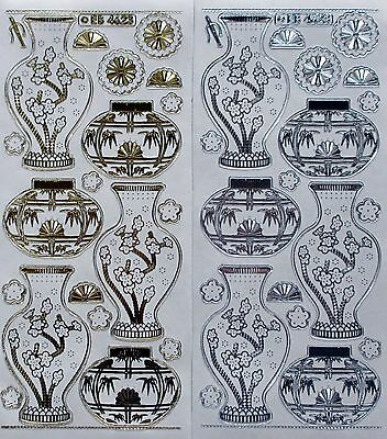 Double Embossed on Clear Urns Vases PEEL OFF STICKERS Oriental Fans Cherry Tree