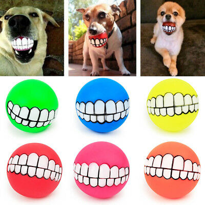 Lots Funny Pet Dog Ball Teeth Silicon Chew Squeaker Squeaky Sound Dogs Play Toys