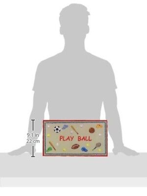The Kids Room by Stupell Play Ball with Red Border Rectangle Wall Plaque