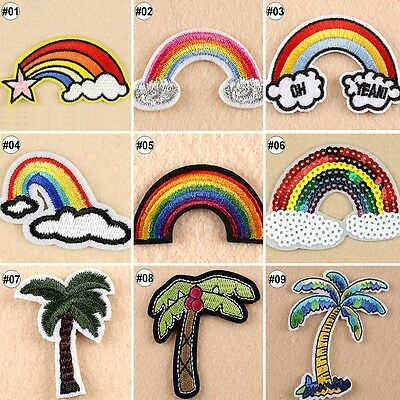 Embroidered Sew On Patches Rainbow Tree Transfer Fabric Bag Clothes Applique