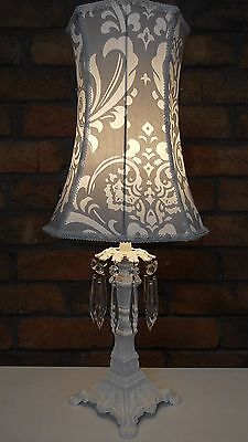 Grey And White Damask Fabric Lampshade Shabby Chic Vintage Table Lamp Shade Yard