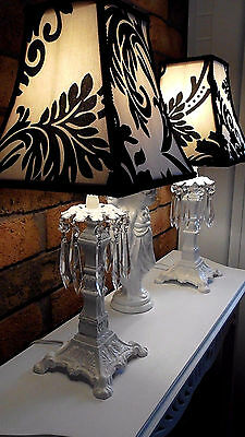 2x BLACK AND WHITE FLOCKED DAMASK FABRIC LAMPSHADE SHABBY CHIC VINTAGE LAMP YARD