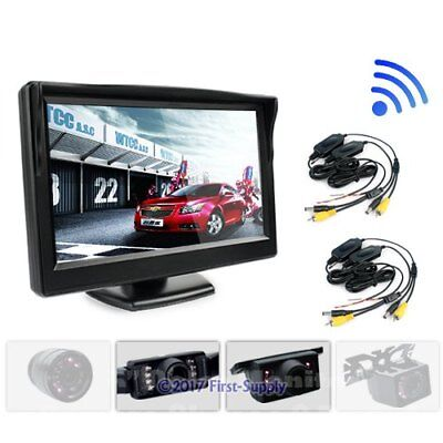 "2x Truck Horse Trailer Wireless Reversing Rear View Dual Camera + 5"" Monitor Kit"