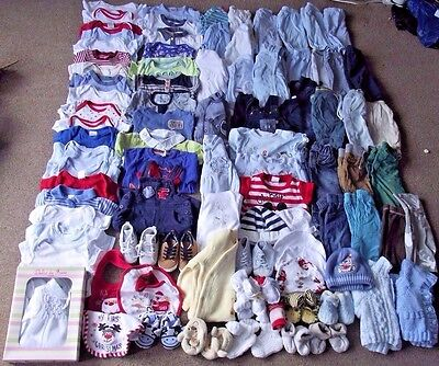 Large Joblot/Bundle of Baby Boys Clothes 0-3 Months 90 Items