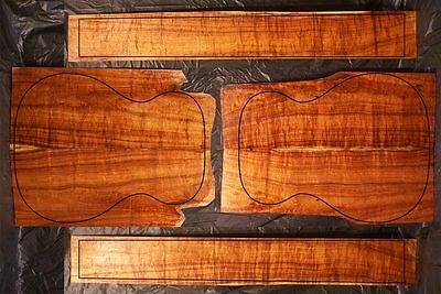Curly Hawaiian Koa OM Acoustic or Classical Guitar Set - Top, Back & Sides #723