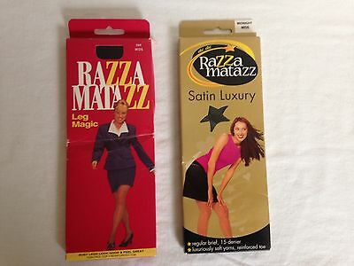 2 x packs Razzamatazz pantyhose in Midnight and Ink Size Mids