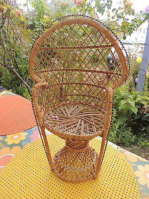 Vintage 70's chaise en osier poupée  Wicker Chair Doll Teddy Bear Toy