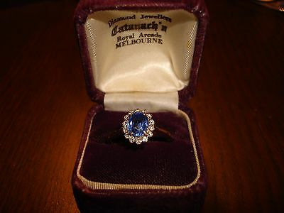 Vintage Blue Ceylon Saphire And Diamond Ring With $7000 Valuation