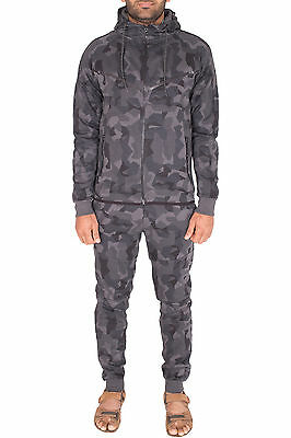 Mens Camo Tracksuit Camouflage Army Bottoms Top Set Jogging Hooded Top