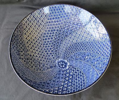 Japanese Blue Porcelain Footed Bowl Signed