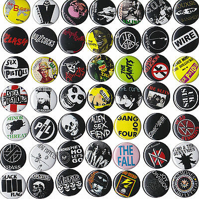 "PUNK BANDS Music BADGES Buttons Pinbacks Lot x 50 - Size 25mm 1"" 1980s"
