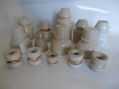 14 Vintage Electric Fence Ceramic Insulators, One Rare Made in Occupied Japan.
