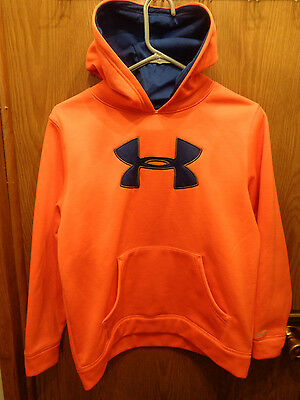 Youth Under Armour Neon Orange Hooded Sweatshirt Size Ylg