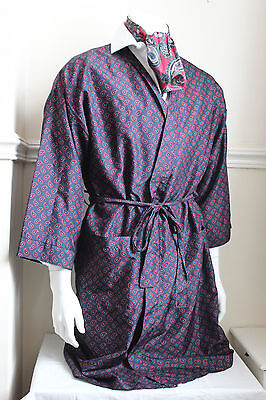 vintage St Michael navy paisley silky dressing gown smoking jacket 60s mens M