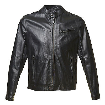 NEW with tags, BATA MEN'S black 100% genuine LEATHER JACKET top size M L XL XXL