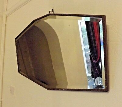 Large Vintage Art Deco Bevelled Edge Mirror - Thin Wooden Frame - 7-Sided