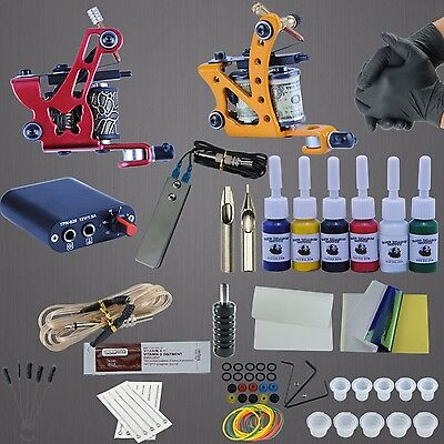 Tattoo Machines Power Box Set 6 Colors Ink Grip Supply Needles Accessories Kit