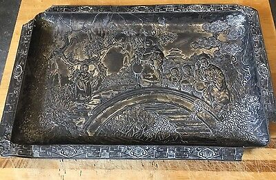 Unusual Interesting Antique Japanese Oriental Garden Design White Metal Tray