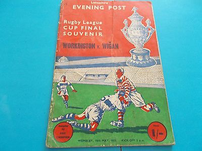 1958 Rugby Lge cup final souvenir Workington v Wigan