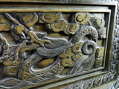 Alte Truhe China Handarbeit Kunst Drachen Dragon