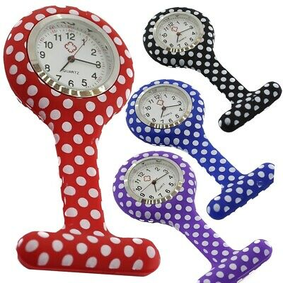 New nurse silicone watches brooch style fob watch with Polka Dot