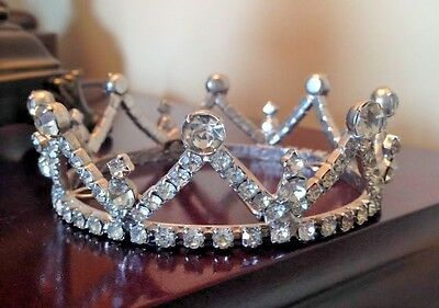 Vintage Rhinestone Tiara FULL Crown with Pageant Bridal Prom REDUCED