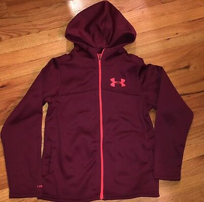 Boys Under Armour Coldgear Storm Maroon Zip Up Hoodie Jacket Youth Large YLG